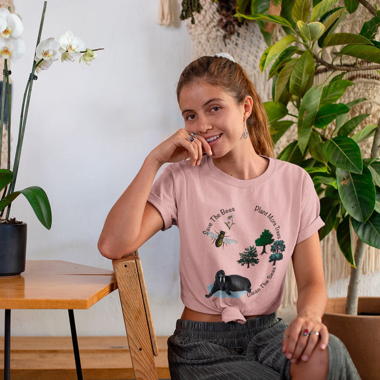 Pink save the bees t shirt with the quote save the bees, clean the seas, plant more trees.