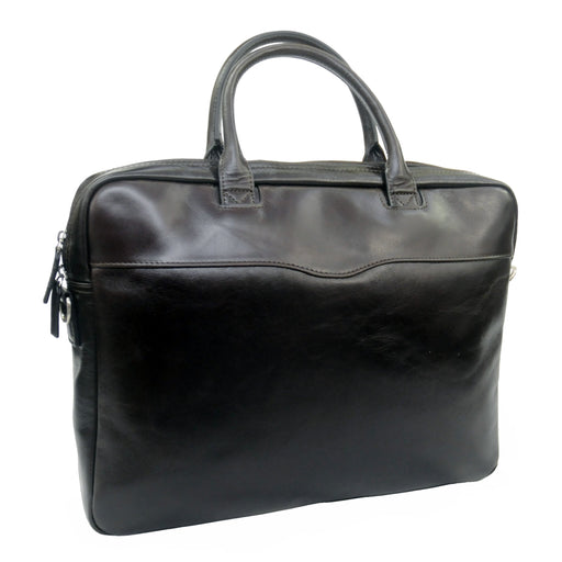 Touro Signature Leather Slim Laptop Brief - Dark Brown