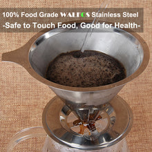 Load image into Gallery viewer, Stainless Steel Cone Reusable Coffee Filter Baskets Mesh Strainer Pour Over Coffee Dripper With Stand Holder