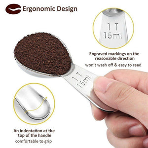 Stainless steel coffee spoon, 2 ergonomic measuring spoons
