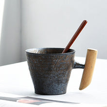 Load image into Gallery viewer, Vintage Ceramic Coarse Pottery Mug Rust Glaze with Wooden Handgrip Tea Milk Coffee Cup Wooden Spoon Water Office Drinkware