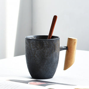 Vintage Ceramic Coarse Pottery Mug Rust Glaze with Wooden Handgrip Tea Milk Coffee Cup Wooden Spoon Water Office Drinkware