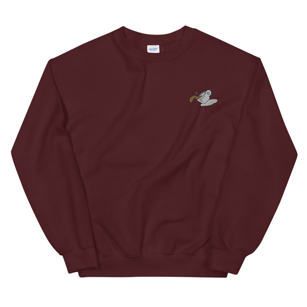 Spilled Coffee Embroidered Unisex Sweatshirt