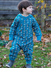 Load image into Gallery viewer, Little Green Radicals Snug as a Bug Suit, Teal, Baby wearing, Reversible.