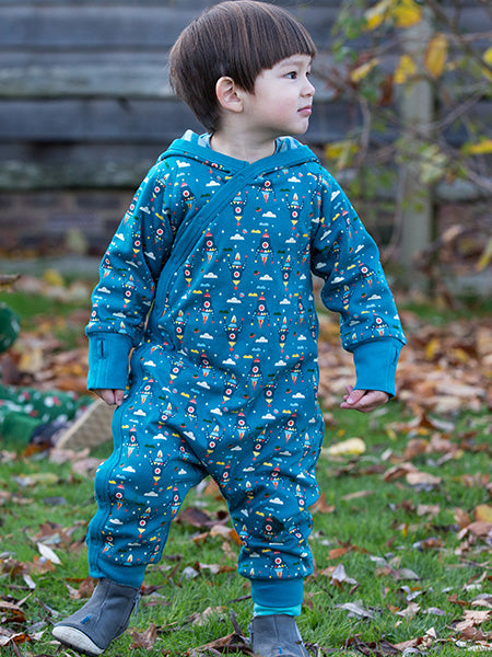 Little Green Radicals Snug as a Bug Suit, Teal, Baby wearing, Reversible.