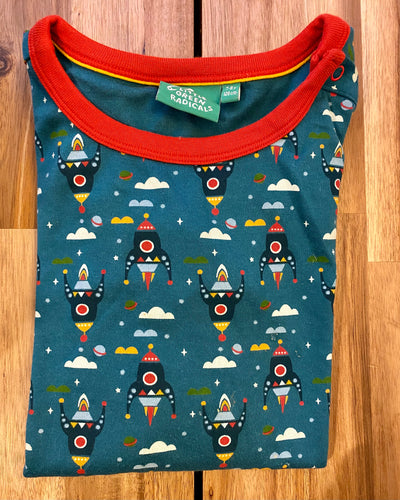 PRELOVED Night Sky Rockets Long Sleeved tee 7-8years