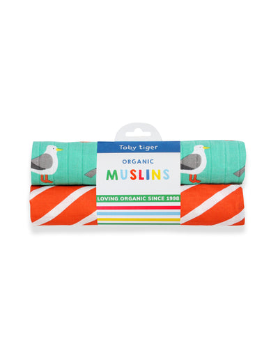 Organic Teal Seagull 2-Pack Muslins