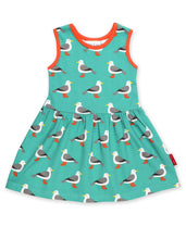 Load image into Gallery viewer, Organic Teal Seagull Print Summer Dress