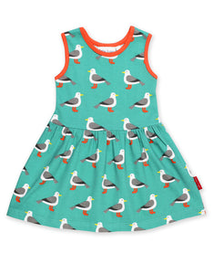 Organic Teal Seagull Print Summer Dress