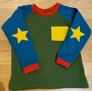 PRELOVED Little Green Radicals Star Long Sleeved Tee 2-3yrs