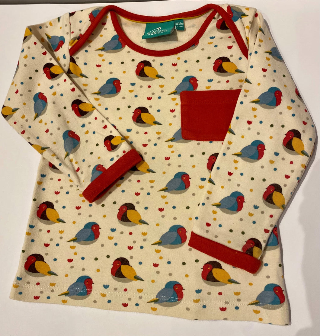 PRELOVED Rainbow Robins Long Sleeved Tee 18-24months