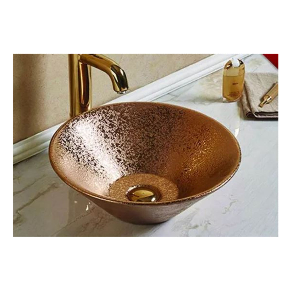 Bathroom above Counter Ceramic Sink Basin Rose Gold New Design Size: 415x415x150mm- CABC7119G
