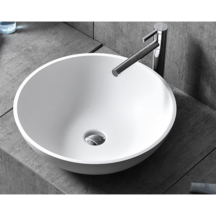 [Extra 10% off] Above Counter Solid Surface Basin Sink White Mat Round- Size: 400mm- CK1003