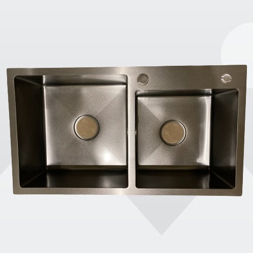 [Extra 15% off] Silver Black Nano Stainless Steel Handmade Double Bowls Top/Undermount Kitchen Sink 810*460*240MM