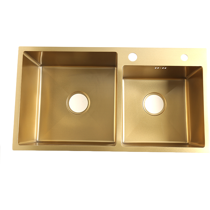 Nano Gold Stainless Steel Handmade Double Bowls Top Undermount Kitchen Sink 780x430x210mm