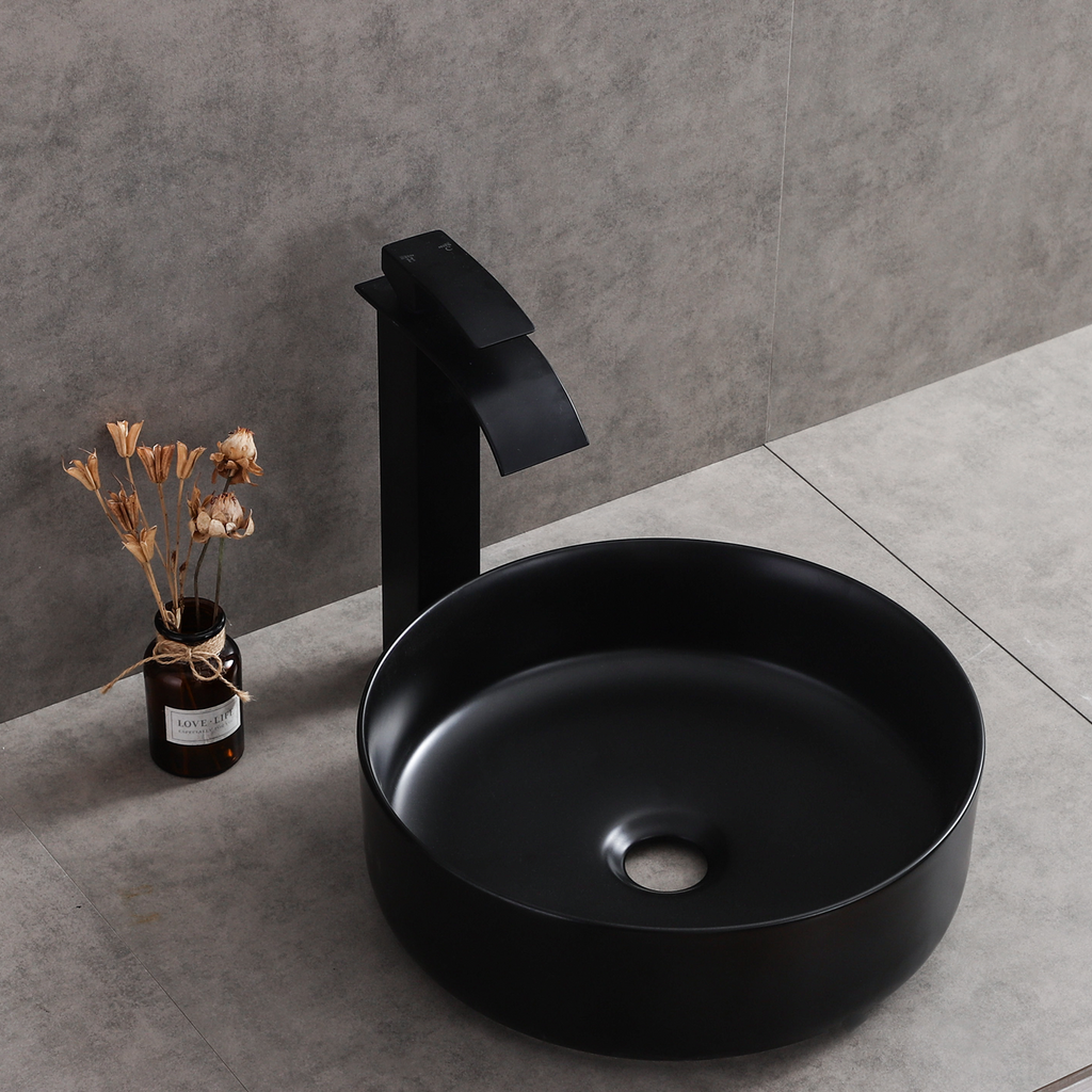 [Extra 10% off] Above Counter Aat Basin Sink Matte Black Round- Size: 400mm- CB-45159