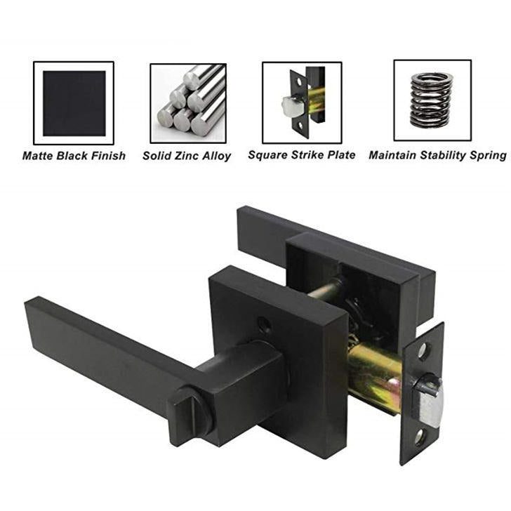 [Extra 10% off] Heavy Duty Door Lever Handles- Entry (with key)/ Privacy Locks- Matte Black- CA561MB