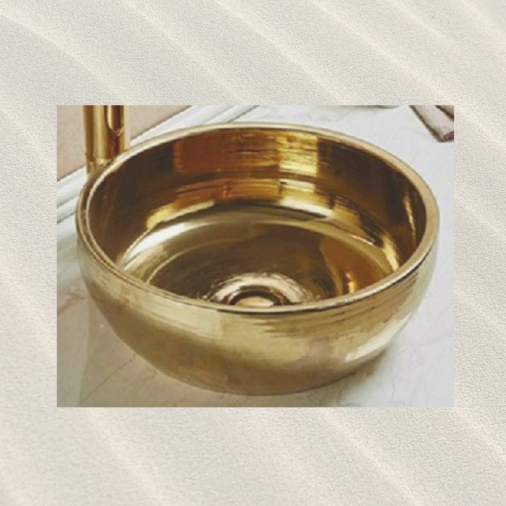 Bathroom above Counter Ceramic Sink/Basin- Golden- New Design- Size: 410x410x145mm- CABC7116G