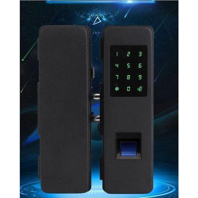 Glass Door Fingerprint Lock Black for Office Home Automation System- CBAH104B