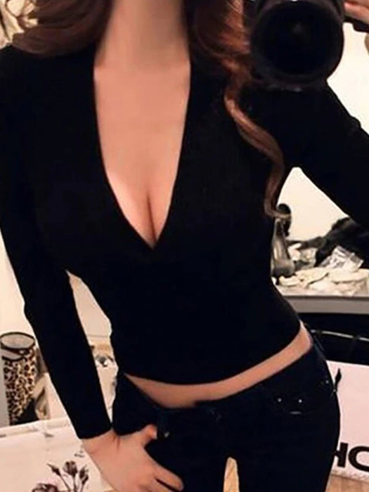 Sexy Knitted  V Neck  Long Sleeve Sweater