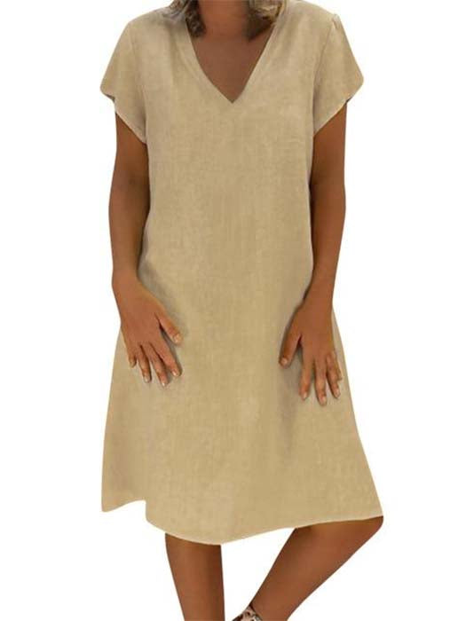 Casual V-Neck Cotton and Linen Dress