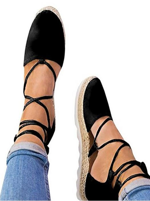 Round Toe Flat Cross Strap Casual Shoes