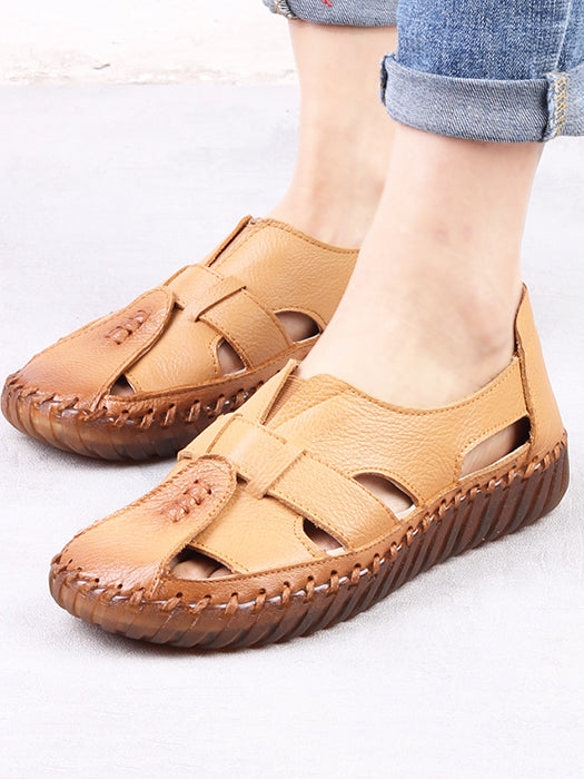 Women Sandals Leather Soft Comfortable Flat Heel Mather Sandals