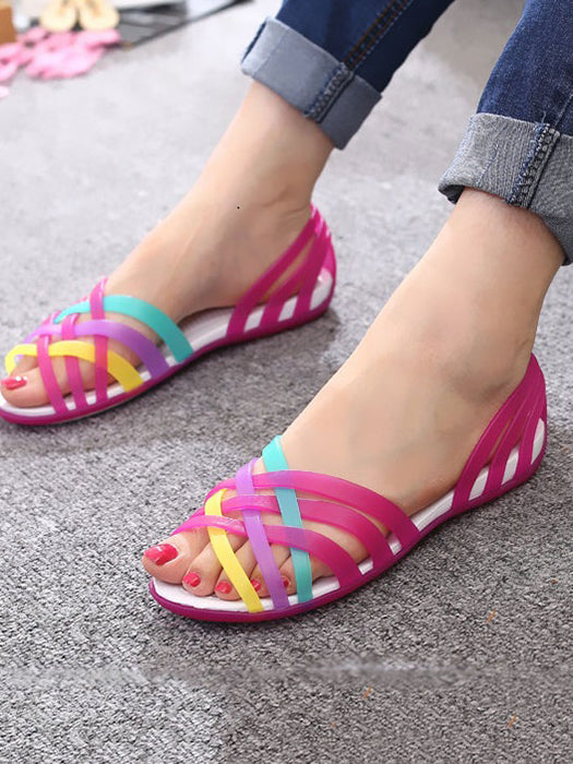 Women  New Candy Color Peep Toe Stappy Rainbow Sandal