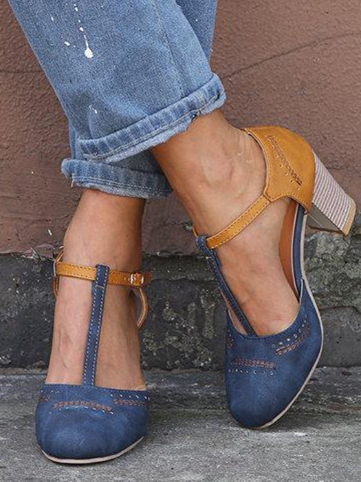 Women Vintage Color Block Sandals Casual Chunky Heel Buckle Shoes