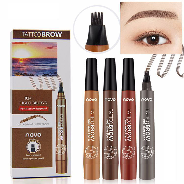 Long-lasting Tattoo Eyebrow Pen with Four Tips