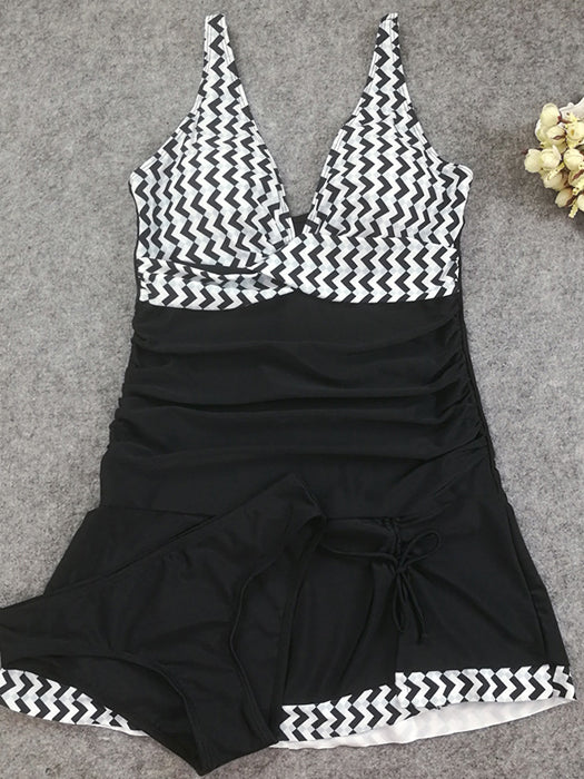 Striped Halter Ladies Swimsuit Large Size