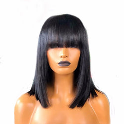 "8"" Peruvian Remy Hair Fringe Wig Human Hair Glueless Straight Short Bob Lace Front Wig With Bangs Bleached Knots - Nothing But Beauty Hair & More-Hair extensions and wigs"
