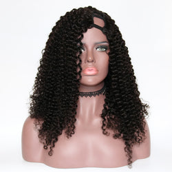Unprocessed Peruvian Afro Kinky Curly U Part Wigs 250 Density 100% Human Hair Remy Hair Opening Curl Wig Lace - Nothing But Beauty Hair & More-Hair extensions and wigs