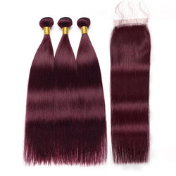 Brazilian Remy Ombre Burgundy Bundles with Closure - Nothing But Beauty Hair & More-Hair extensions and wigs