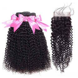 Mongolian Kinky Curly Bundles With Closure - Nothing But Beauty Hair & More-Hair extensions and wigs