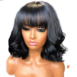 "8"" Brazilian Remy Natural Wave 360 13x4 Lace Front Wig with Bangs - Nothing But Beauty Hair & More-Hair extensions and wigs"