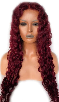 "8"" Brazilian Remy Deep Wave 360 13x6 Full Lace Front Red or Black Pre-plucked - Nothing But Beauty Hair & More-Hair extensions and wigs"