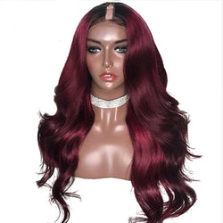 Peruvian Remy Body Wave Ombre 1B/99J Burgundy Dark Red U Part; Middle Left Right U Part Wig - Nothing But Beauty Hair & More-Hair extensions and wigs