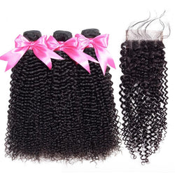 Malaysian Remy Kinky Curly Bundles With 4x4 Closure Swiss Lace - Nothing But Beauty Hair & More-Hair extensions and wigs