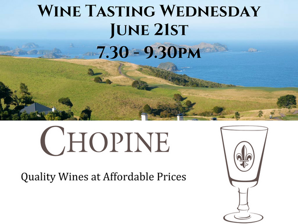 Members Wine Tasting Wednesday 21st June 7.30pm - 9.30pm
