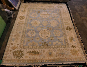 Floral Indian Oushak Rug
