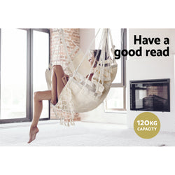 Hammock Swing Chair with Tassels - Cream