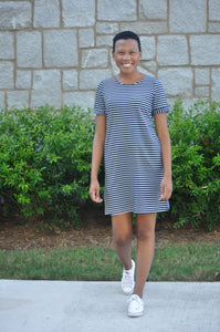 Charlotte Striped Navy Dress
