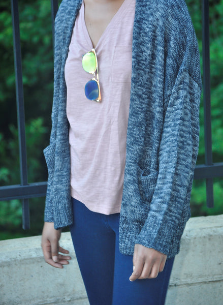 Heather Blue Cardi