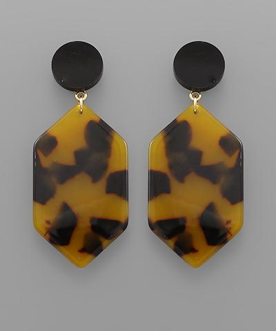 Hexagonal Tortoise Earrings