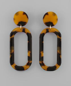 Oval Drop Tortoise Earrings