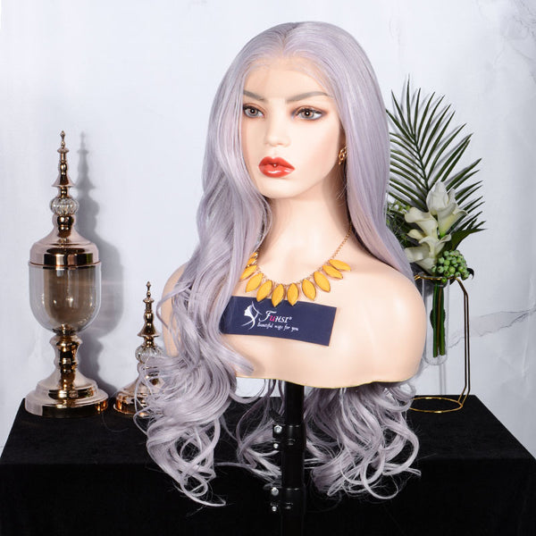 FUHSI® Kanekalon Fiber 13×6 Inch Synthetic Lace Front Wave Wig Mix Purple Color Blonde 250Density 22inch