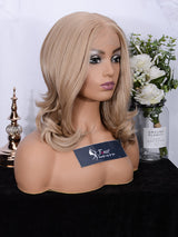 FUHSI Lace Front Wigs for Women 13X6 Lace Kanekalon Futura Hair Synthetic Wigs Short Bob Wavy Layers Ash Blonde 103# color