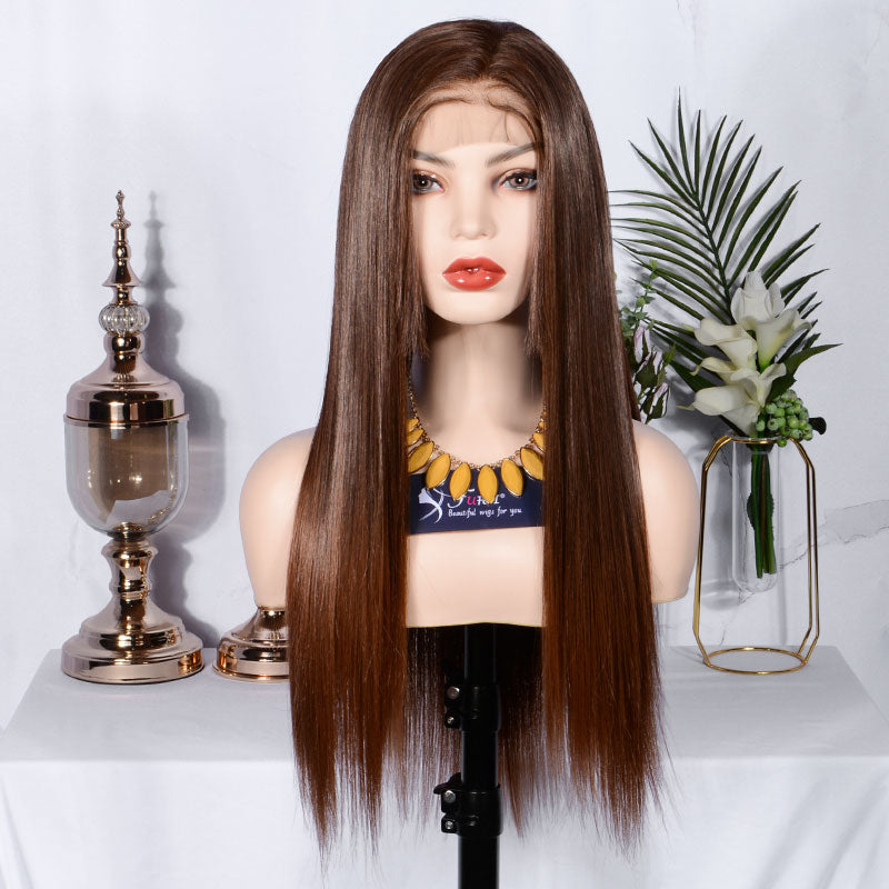 FUHSI® Kanekalon Fiber 13×6 Inch Synthetic Straight Lace Front Wig Hightlight T4-30# Color Blonde 250Density 22inch