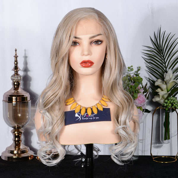 FUHSI® Blonde 13×6 Lace Front Wig Long Wavy Glueless Synthetic Wig Ash Blonde Highlight Silver–22inch 103T60# Color
